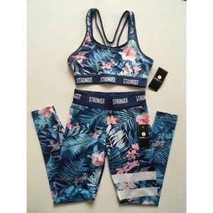 NWT Electric Yoga leggings & bra set STRONGER Sml